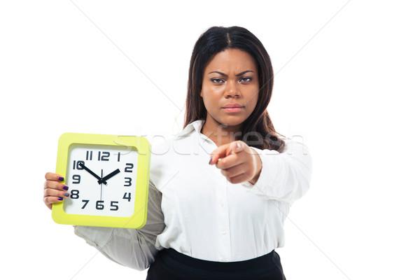 Empresária relógio indicação câmera zangado Foto stock © deandrobot