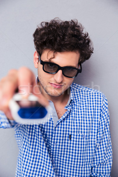 человека 3d очки серый волос Сток-фото © deandrobot