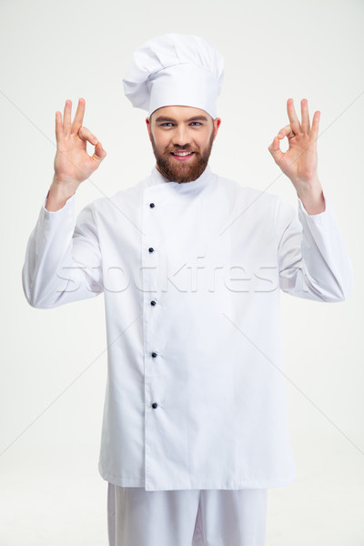 Male chef cook showing ok sign Stock photo © deandrobot