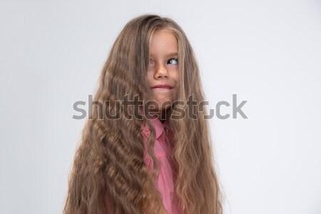 Little girl bobo cara retrato cabelos longos Foto stock © deandrobot