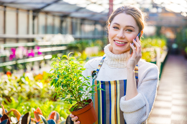 Beautiful woman gardener talking on mobile phone in orangery Stock photo © deandrobot