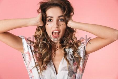 Nő csukott szemmel tart nyugodt vörös hajú nő izolált Stock fotó © deandrobot