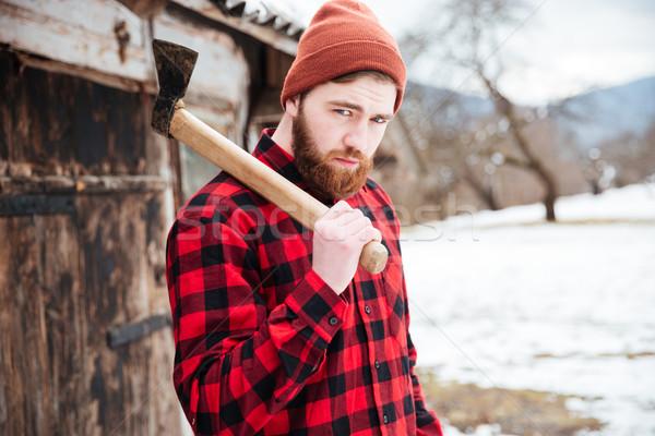 ハンサム あごひげを生やした 男 斧 村 肖像 ストックフォト © deandrobot