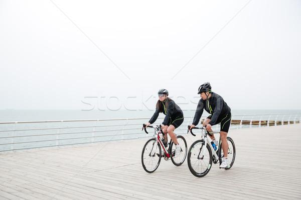 Stock foto: Paar · Reiten · Fahrrad · Freien · Strand · Frau