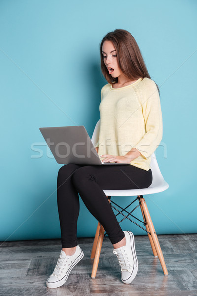 Shocked young woman looking at the laptop screen Stock photo © deandrobot