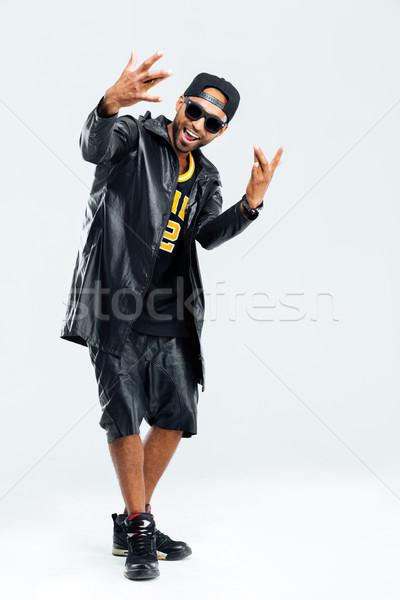 Porträt afro Mann stylish Tuch Stock foto © deandrobot