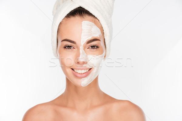 Portré fiatal mosolygó nő bozót maszk arc Stock fotó © deandrobot
