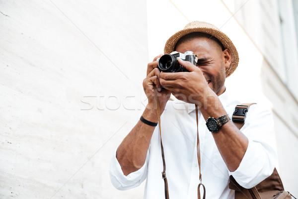 Siyah adam sokak adam mutlu saç Stok fotoğraf © deandrobot