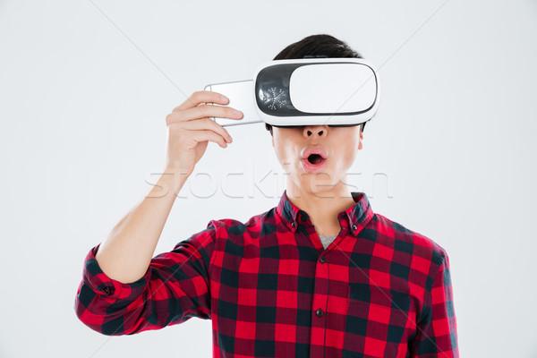 человека виртуальный реальность Сток-фото © deandrobot