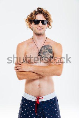 Foto stock: Retrato · hombre · playa · shorts · bueno