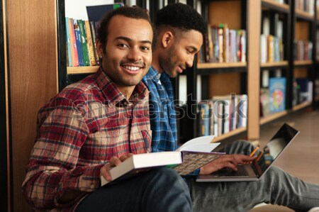 ストックフォト: 学生 · 座って · 階 · 勉強