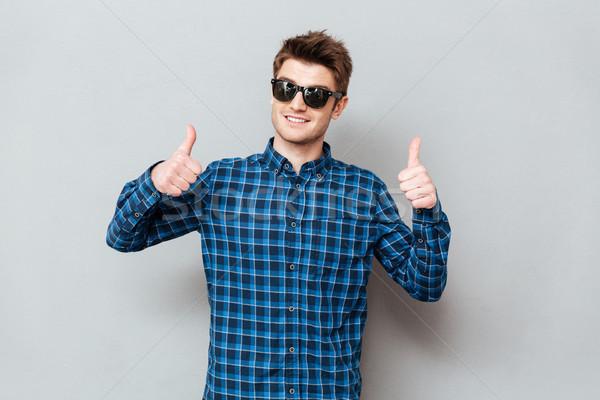 Foto stock: Feliz · homem · óculos · de · sol