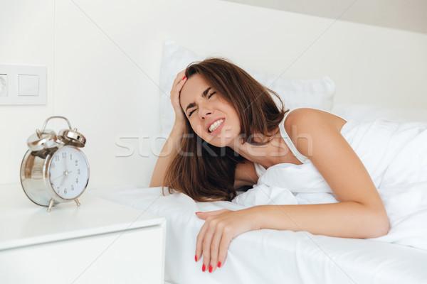 Zły zły kobieta bed rano Zdjęcia stock © deandrobot