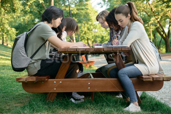 Multiethnic group of happy young students Stock photo © deandrobot
