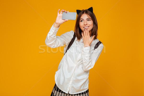 Сток-фото: Cute · школьница · равномерный · рюкзак