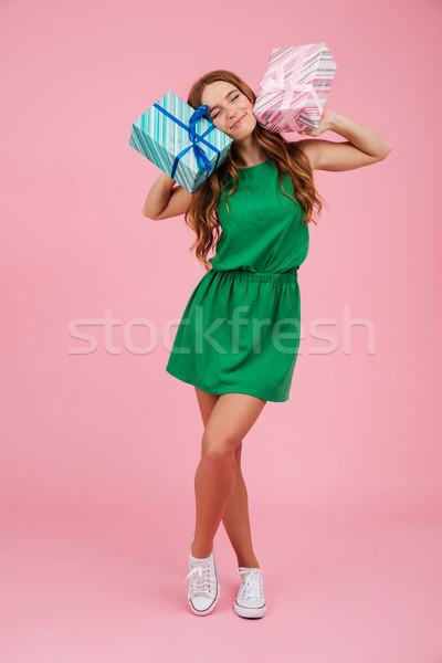 Teljes alakos portré boldog elégedett nő ruha Stock fotó © deandrobot