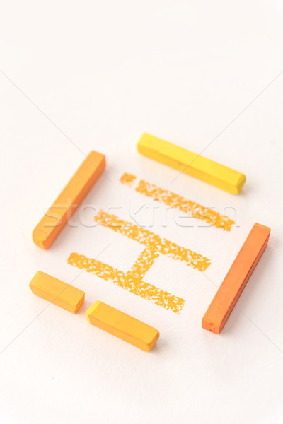 Stock photo: Word Hi drawn with orange pastel chalk