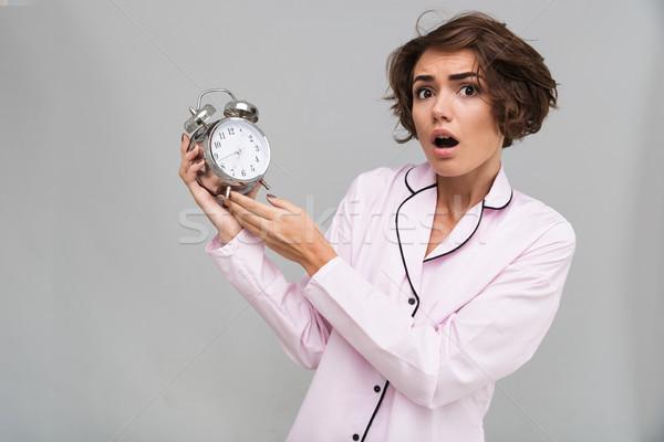 肖像 怖い 少女 パジャマ 目覚まし時計 ストックフォト © deandrobot