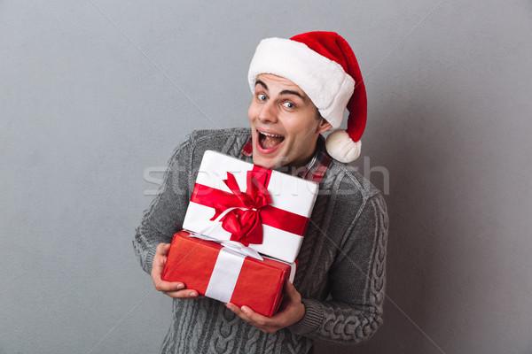 快樂 男子 毛線衣 聖誕節 帽子 商業照片 © deandrobot