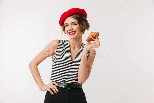 Portrait of a happy woman wearing red beret Stock photo © deandrobot