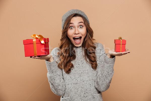 молодые очаровательный счастливым девушки зима Hat Сток-фото © deandrobot