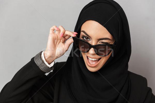 Portré közelkép elegáns muszlim nő 20-as évek Stock fotó © deandrobot