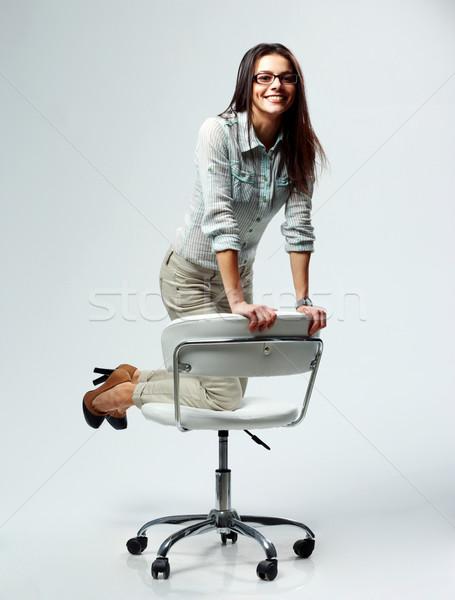 小さな 幸せ 女性実業家 事務椅子 グレー ストックフォト © deandrobot