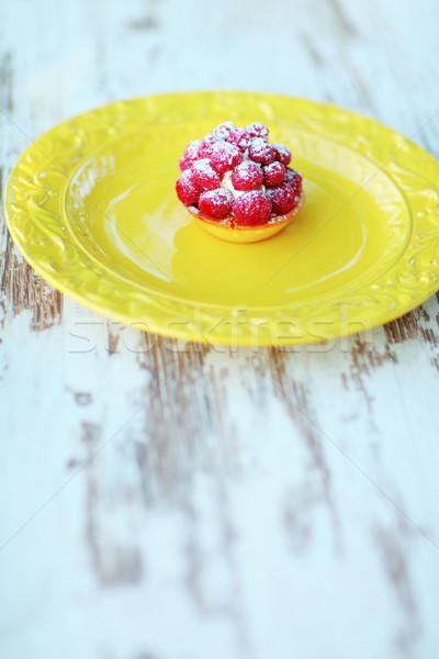 Fruitcake vintage plaat cake ruimte tabel Stockfoto © deandrobot