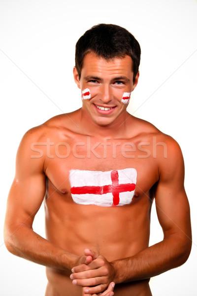 Portret Engels voetbal fan vlag lichaam Stockfoto © deandrobot