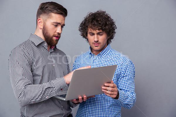 Due bello uomini utilizzando il computer portatile ritratto grigio Foto d'archivio © deandrobot