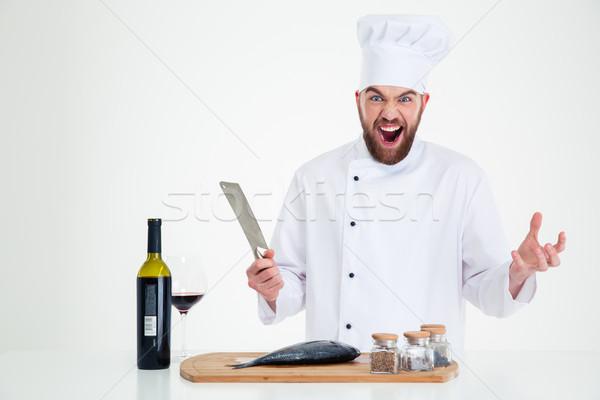 Portret wesoły mężczyzna kucharz gotować ryb Zdjęcia stock © deandrobot