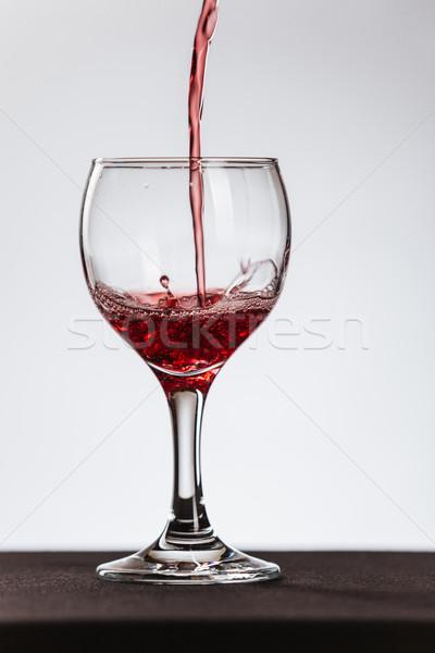 ストックフォト: 赤ワイン · ガラス · ワイングラス · 白 · 抽象的な