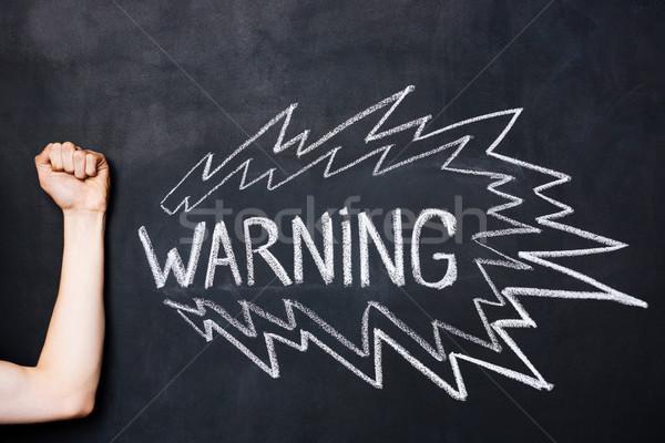 El yumruk uyarı tahta Stok fotoğraf © deandrobot