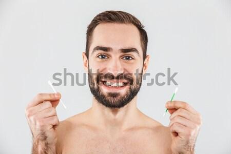 Retrato feliz hombre guapo cepillo de dientes aislado Foto stock © deandrobot