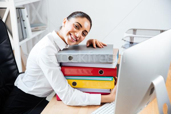 Sorridere imprenditrice colorato Foto d'archivio © deandrobot