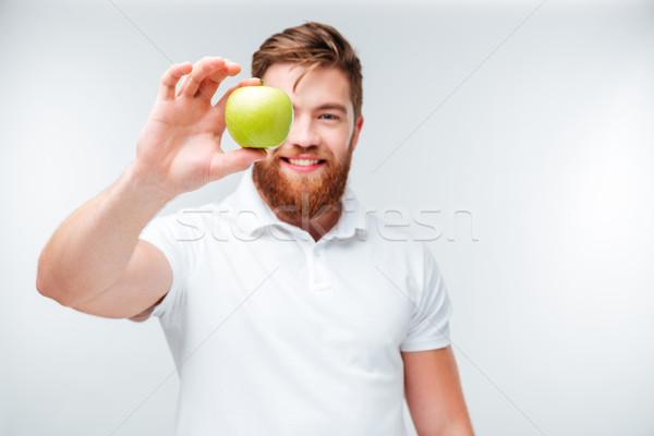 Casual barbudo homem verde maçã Foto stock © deandrobot