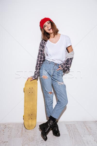 изолированный белый скейтборде изображение Сток-фото © deandrobot