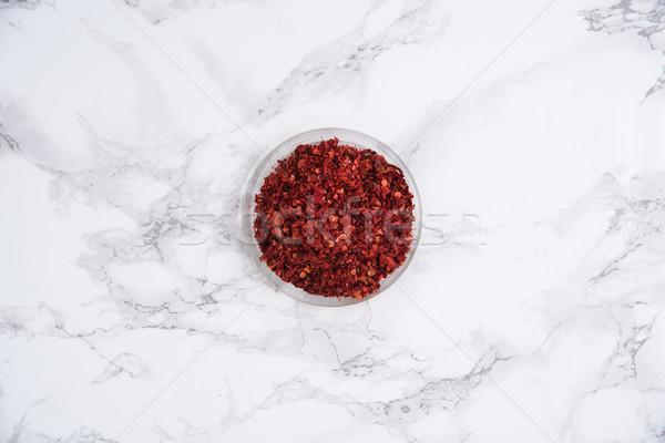 Felső kilátás aszalt chilli bors kicsi Stock fotó © deandrobot