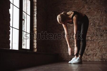 シルエット 官能的な 女性 ランジェリー 立って 挙手 ストックフォト © deandrobot