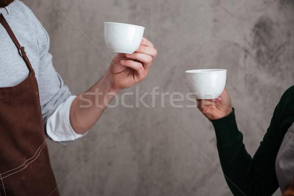 Liefhebbend paar drinken koffie afbeelding voedsel Stockfoto © deandrobot