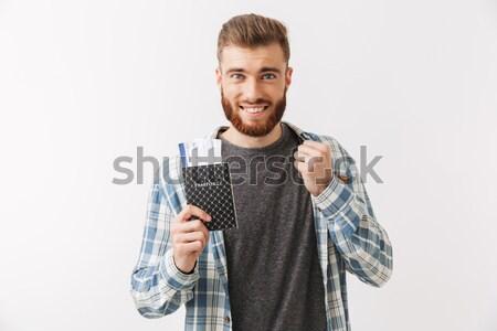 улыбаясь бородатый человека рубашку деньги Сток-фото © deandrobot