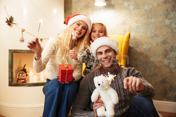 счастливая семья глядя камеры Рождества Сток-фото © deandrobot
