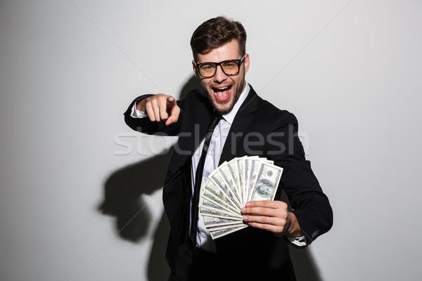 Gelukkig aantrekkelijk man bril zwart pak Stockfoto © deandrobot