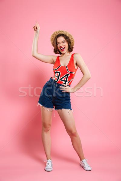 Porträt glücklich verspielt Frau Sommer Stock foto © deandrobot
