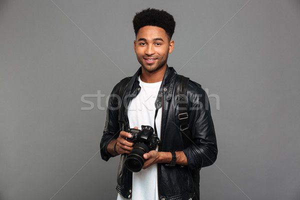 Portret szczęśliwy afro amerykański facet Zdjęcia stock © deandrobot