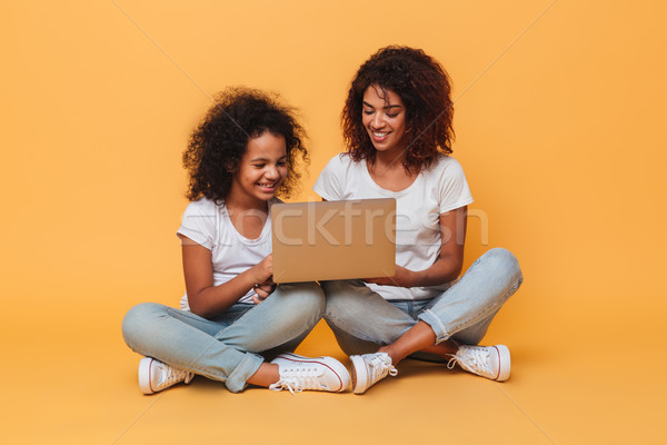 Two smiling afro american sisters using laptop computer while sitting Stock photo © deandrobot