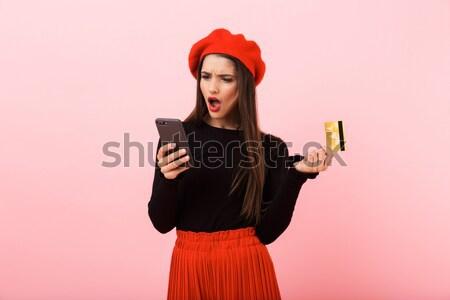 Souriant femme blonde à carreaux shirt cap Photo stock © deandrobot