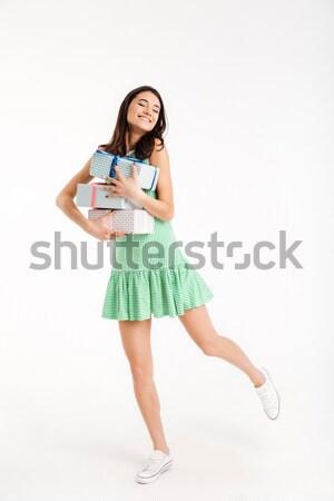 肖像 満足した 少女 ドレス ストックフォト © deandrobot