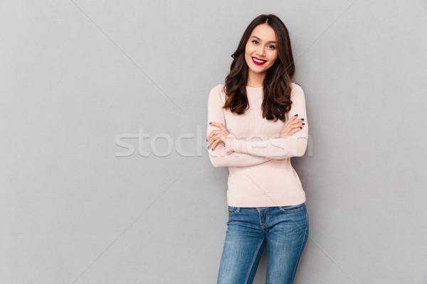 Zdjęcia stock: Portret · młoda · kobieta · czerwone · usta · makijaż · stałego · broni