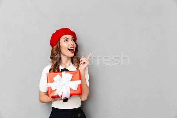 портрет радостный школьница равномерный шкатулке Сток-фото © deandrobot